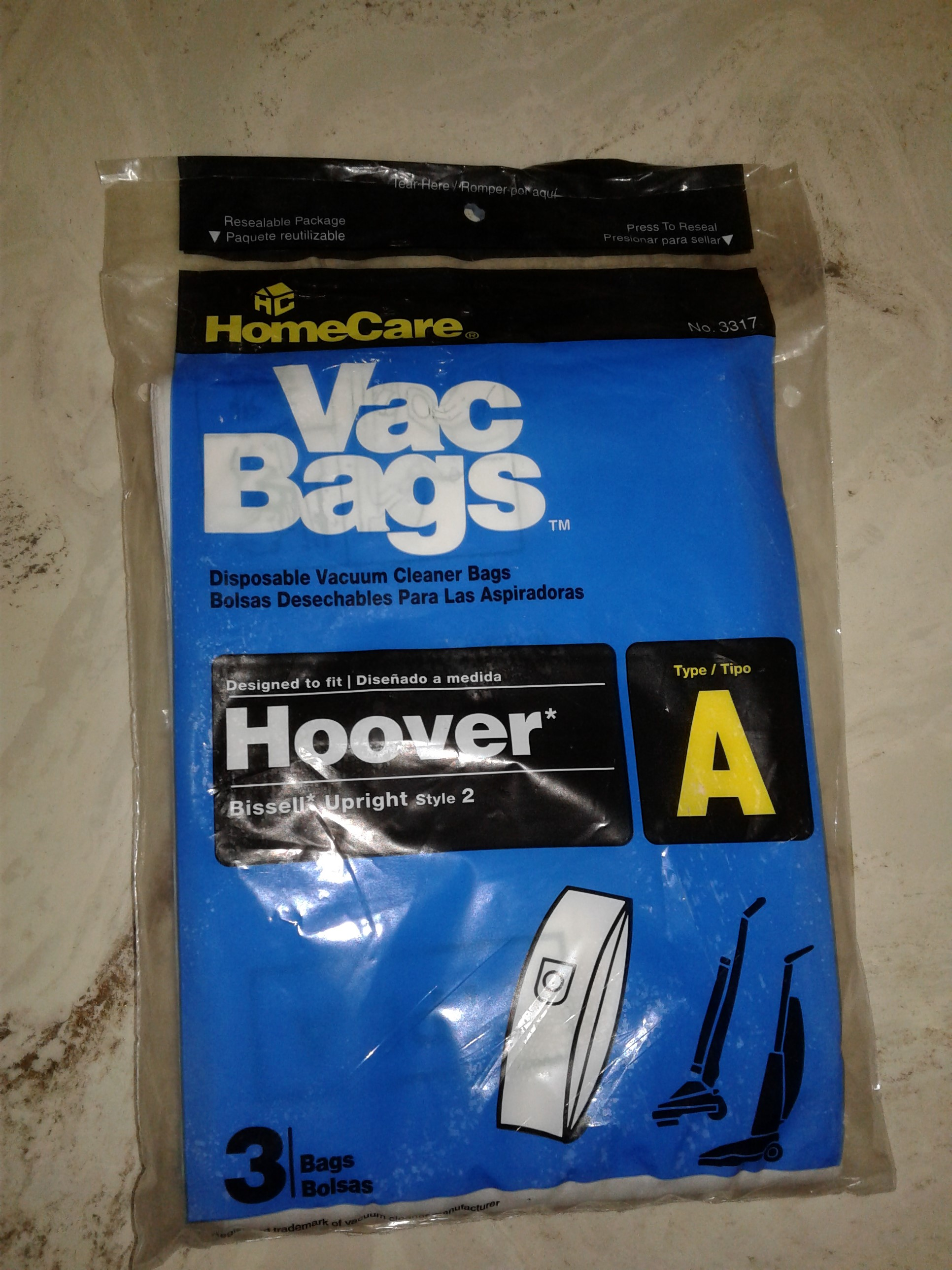 Hoover Vacuum Bags Type A and Bissell Upright Style 2