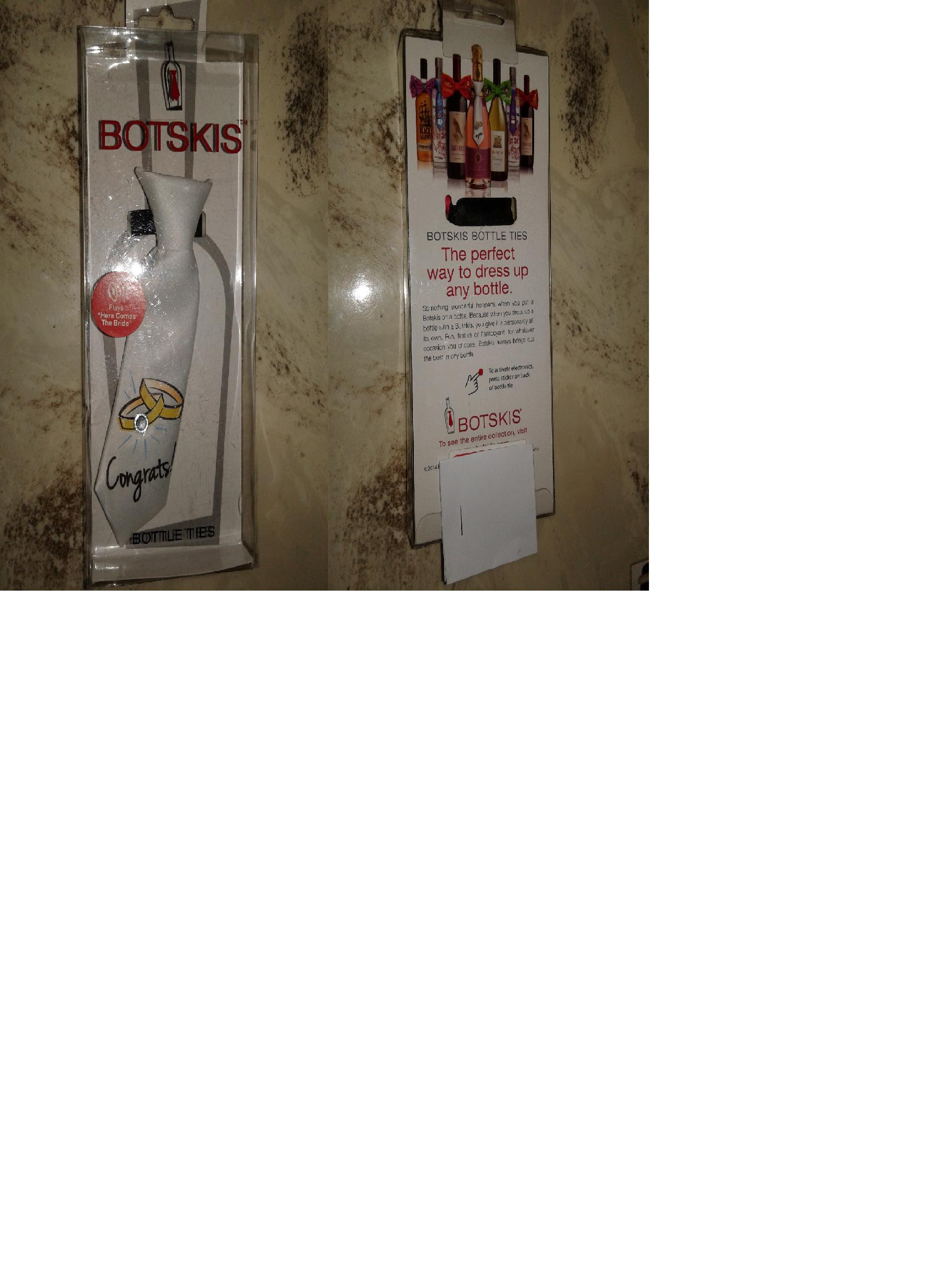 "Botskis Bottle Tie - New - PLAYS ""HERE COMES THE BRIDE"" - WHITE"