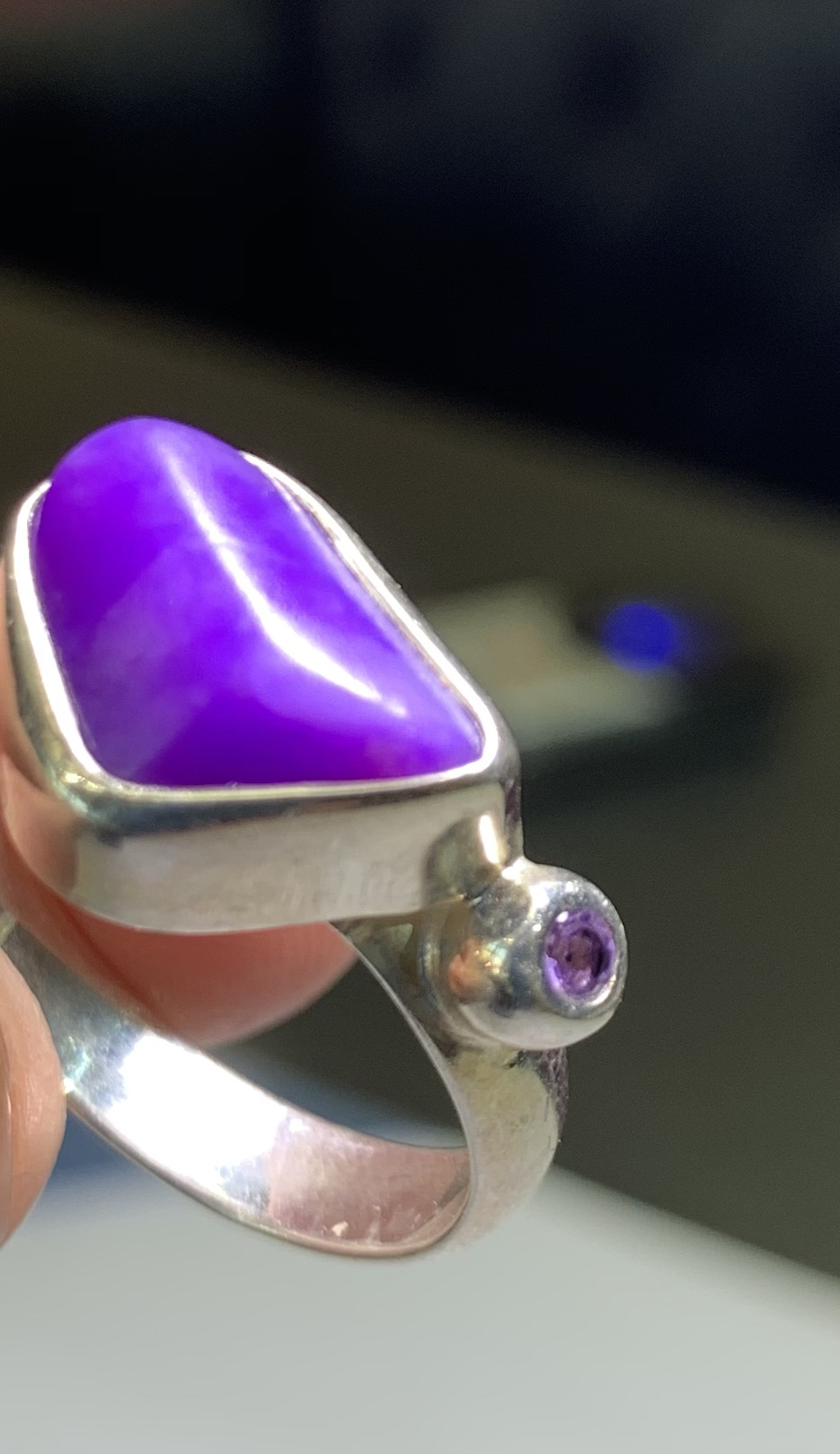 Sugilite and Amethyst Ring Sterling Silver