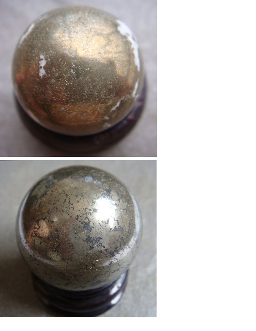 25mm Polished Solid Natural Pyrite Stone Crystal Sphere Healing