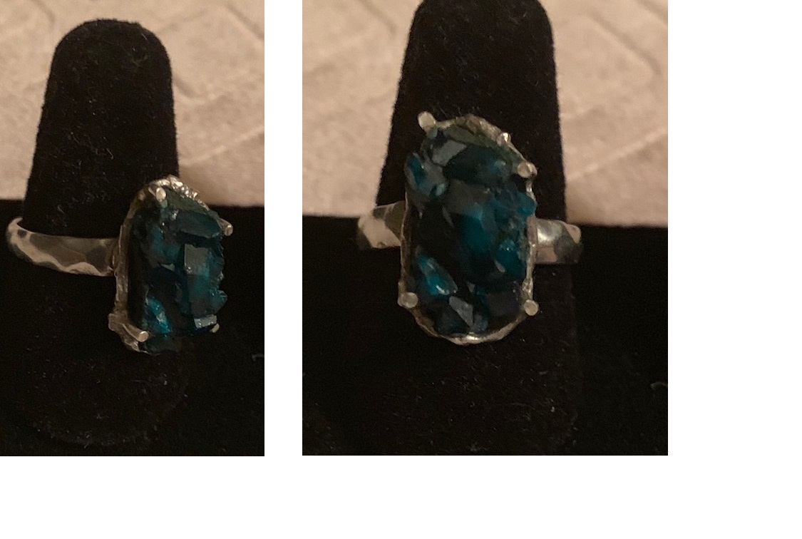 Dioptase Ring in Sterling Silver